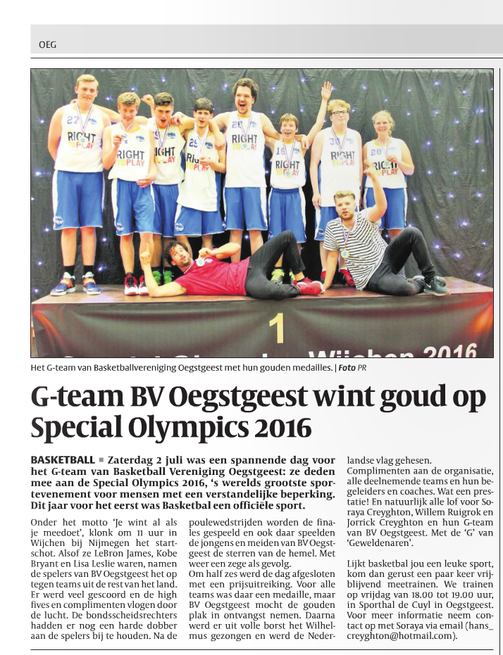 G-team BV Oegstgeest wint goud op Special Olympics 2016